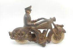 Vintage 1930s 7 Cast Iron Champion Toy Motorcycle Police Man