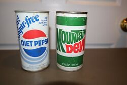 2 - Vintage Mountain Dew And Sugar Free Diet Pepsi-cola 12oz Pull Ring Soda Can