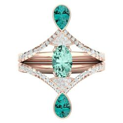 1.35ct Natural Diamond 14k Solid Rose Gold Blue Topaz Cocktail Ring Size 7