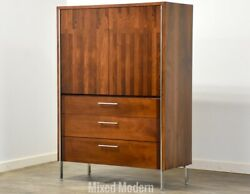Rosewood Walnut And Chrome Armoire Dresser By Lane Mid Century Modern