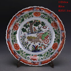 Chinese Antique Yuan Famille-rose Porcelain Character Story Pattern Plate