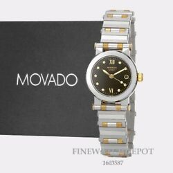 Authentic Movado Vizio Women's Black Dial Two Tone Stainless Steel Watch 1603587
