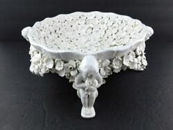 Ardalt Fiori Blanco Footed Bowl Cherubs Holding White Flowers Made In Italy Good