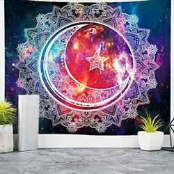 Extra Large Tapestry for Bedroom Moon Crescent Lunar Vibrant Wall Hanging Pretty