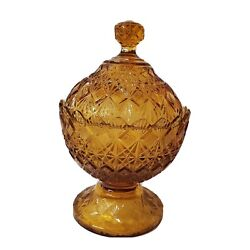 Ovg Olde Virginia Glass Fenton Amber Colonial Covered Candy Dish Opalescent