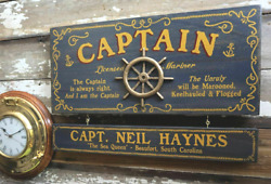Captain Wood Sign With Custom Personalization Nameboard
