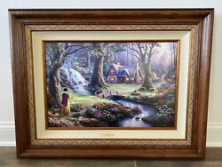 Thomas Kinkade Snow White Limited Canvas 18x27 S/n Disney Dreams Signed Sketched