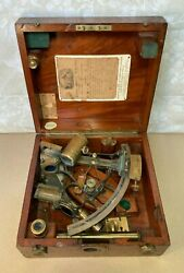 Heath And Co Brass Hezzanith Sextant 1908 In Wood Case W/ Attachments And Wood Case