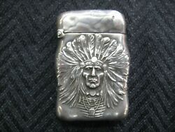 Antique Art Nouveau Sterling Unger Brothers Indian Chief Match Safe