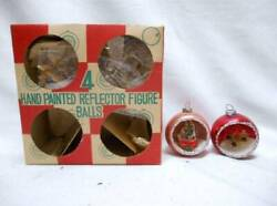Old Glass Diorama Christmas Ornaments W Wreath And Bottle Brush Tree Andbx