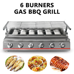 6 Burner Bbq Grill Gas Barbecue Infrared Smokeless Roasting Tray Lpg Gas Steel G