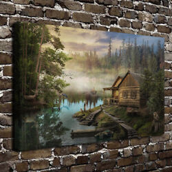 Cabin On The Lake Canvas Wall Art Painting Prints Forest Poster For Home Decor