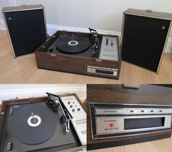 Vintage Voice Of Music Vm569 Record Player Changer And 8 Track Phonograph Suitcase