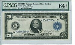 Fr 967 1914 20 Boston Federal Reserve Note 64 Epq Choice Uncirculated