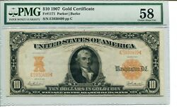 Fr 1171 1907 10 Gold Certificate 58 Choice About New
