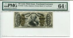 Fr 1334 Fractional 50 Cents 3rd Issue A On Front Pmg 64 Epq Choice Unc