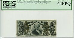 Fr 1331 Fractional 50 Cents 3rd Issue Green Reverse 64 Ppq Very Choice New