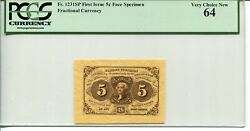 Fr 1231sp Fractional 5 Cents First Issue 64 Very Choice New - Wide Margin Pair
