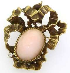 Erwin Pearl Antique Victorian Diamond Pink Coral 18k Gold Brooch Pendant