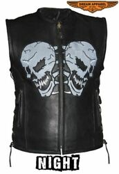 Menand039s Motorcycle Leather Vest W/ Reflective Evil Skulls Design And Zipper Closure