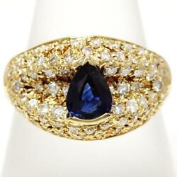 18k Yellow Gold Ring 14 Size Sapphire 0.78 Diamond About5.9g Free Shipping Used