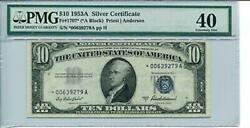 Fr 1707 1953a 10 Star Silver Certificate 40 Extremely Fine