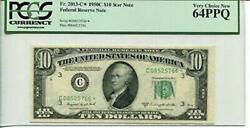 Fr 2013-c Star 1950c 10 Federal Reserve Note 64 Ppq Very Choice New