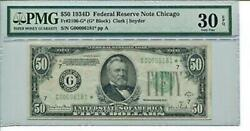 Fr 2106-g Star 1934d 50 Federal Reserve Note Pmg 30 Epq Very Fine