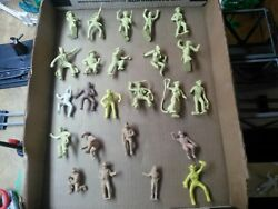 Rare Light Yellow Marx Figures Western Town Playset 60mm Jail Hotel Side Cowboys