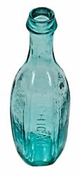 Rare Mid-1840and039s Light Aqua Blue Superior 6 Sided Tenpin Chicago Glass Bottle