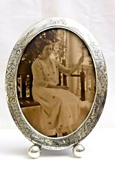 Antique Sterling Oval Ball Footed 10 Easel Picture Frame Schmitz Moore 1915