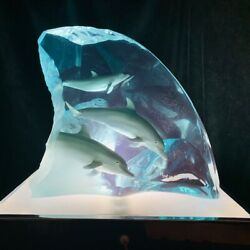 Wyland Lucite Sculpture Dolphin Tribe With Vintage Lighted Display Box
