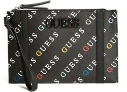 NEW GUESS Women#x27;s Black Rainbow Logo Zip Wristlet Wallet Clutch Bag $34.99