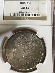 1890 Morgan Dollar Blue Gold Rainbow Two Sided Toning Ngc Ms 62 Awesome