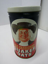 Old 1982 Quaker Oats Tin Can Metal Canister Oatmeal Cookie Recipe Advertising
