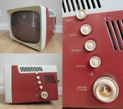 1950and039s Vintage Television Ge 17t026 Portable Tv Cabinet Retro Tube Mcm Salmon