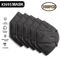 100 Black Color Kn95 Protective 5 Layer Face Mask Disposable Respirator Bfe 95