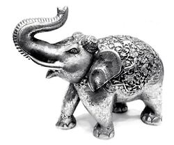 11 Inches Silver Coated Elephant Statue Figurine Hand Carved Metal Home Decor