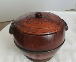 1800's Antiques Chinese Fruit Storage Bucket With Carved Lid And Handles