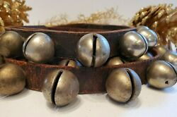 Vintage Brass Sleigh Bells 42 On 91 Leather Strap Horse Tack Christmas Antique