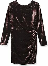Dress The Population Womenand039s Lolita Long Sleeve Stretch Sequin Drape Front Mini