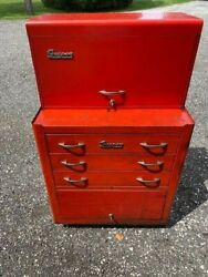 Vintage Snap-on Tool Kr352 Roll Cab And Kr56 Top Box Matching Combo 1956 With Keys