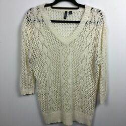 Relativity L Large Pullover Sweater Ivory Open Knit V Neck 3/4 Sleeve