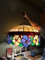 Vintage Stained Slag Glass Hanging Lamp Style Chandelier-plugin
