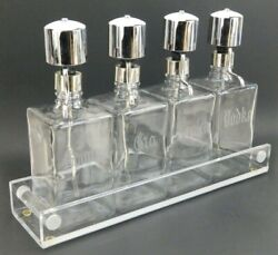 Mid Century Modern Lucite Tray And Chrome Liquor Decanters Bottle Bar Cocktail Set