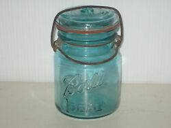 Vintage Ball Ideal Blue Pint Fruit Jar W/ Glass Lid Wire Bail + Rubber Seal 5