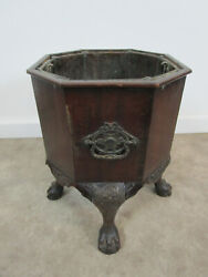 Antique Mahogany Wood French Wine Cooler Ice Bucket Claw Foot Vintage Champagne