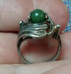 Vtg Sterling Silver Jade Ring Organic Modernist Size 7.5. Bypass Free Flowing 5g