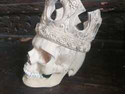 7.85'' Wood Skull Carved With Crown On Head 100 Handmade Antique Collectibles