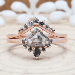 Salt And Pepper Shield Ring Set 14k Solid Rose White Yellow Gold Ring Kdk2172